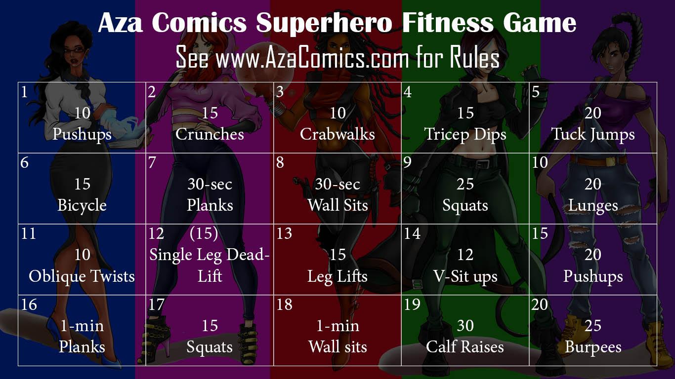 Aza Comics superhero fitness challenge game