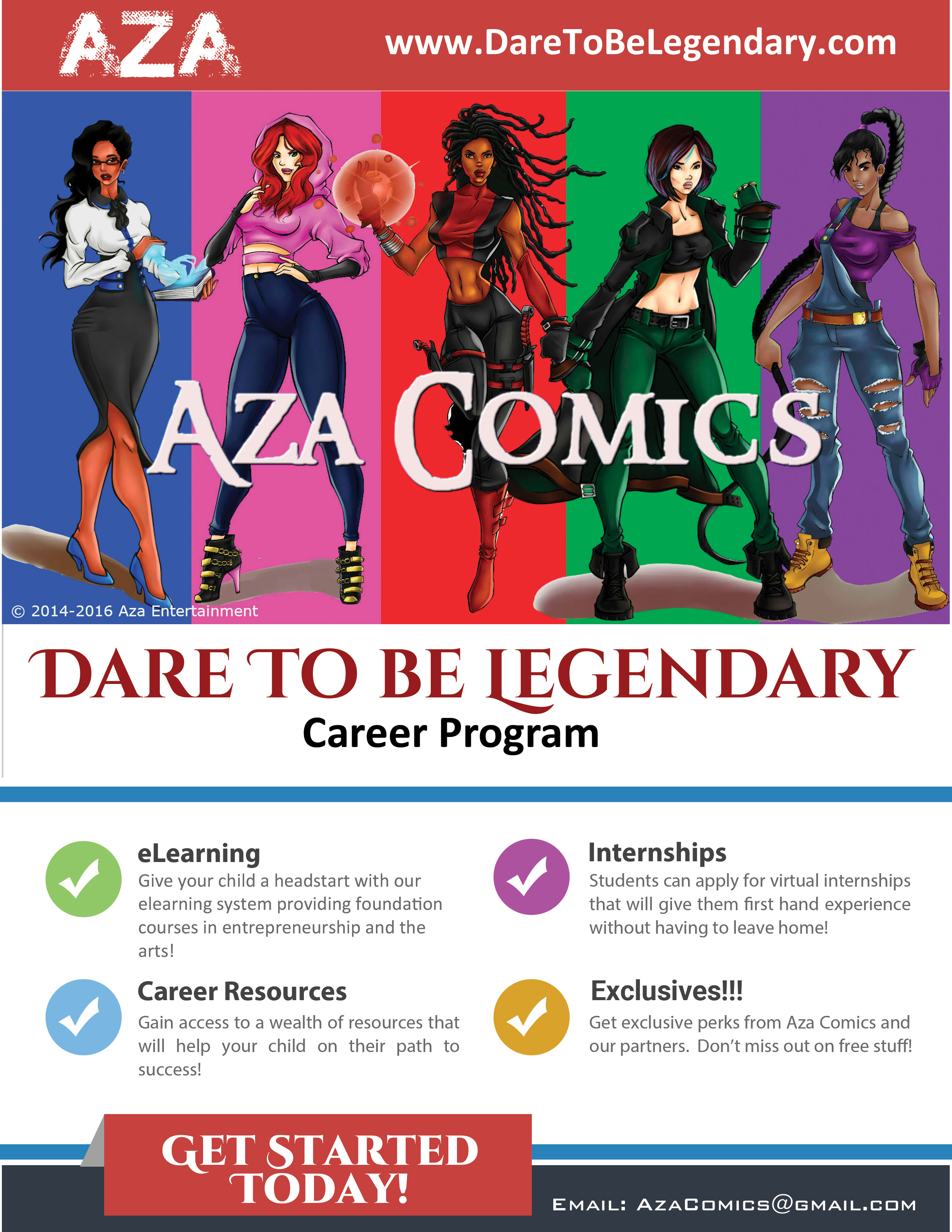 aza comics dare to be legendary career program